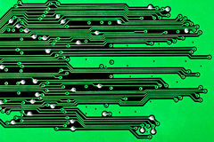 Circuit board background. Close up of a green circuit board background Stock Photos