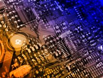 Circuit board background. Computerized world concept; orange-blue blend stock illustration