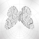 Circuit board background, butterfly illustration Stock Image
