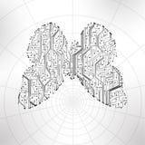 Circuit board background, butterfly illustration stock illustration