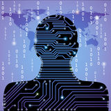 Circuit board background with man silhouette Stock Photos