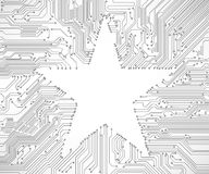 Circuit board background with star Royalty Free Stock Image