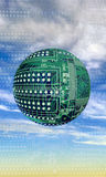 Circuit board ball in sky. 3d illustration of electronic circuit board floating in blue sky with cloudscape stock photography
