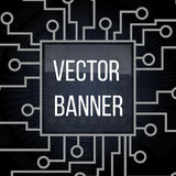 Circuit board banner  on black background. Motherboard and computer design, illustration Royalty Free Stock Photography