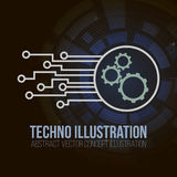 Circuit board banner  on dark background. Gears, engineering and tech, motherboard and computer design,  Royalty Free Stock Photos