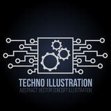 Circuit board banner vector on black background. Gears, engineering and tech, motherboard and computer design Stock Photo