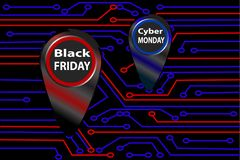 Circuit board, black friday and cyber monday banner, poster layout design template vector illustration royalty free illustration