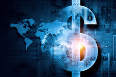 Circuit board blue background. With dollar currency sign Royalty Free Stock Photo