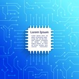 Circuit board blue background. Electronic device circuit board bright blue background poster vector illustration Stock Photography