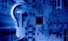 Circuit board blue background. Background image with system motherboard concept and bulb sign Stock Images