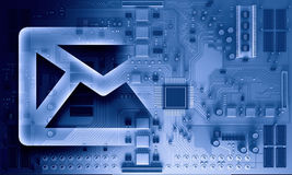 Circuit board blue background. Background image with system motherboard concept and email symbol Stock Photography