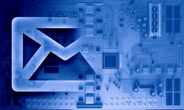 Circuit board blue background. Background image with system motherboard concept and email symbol Royalty Free Stock Images