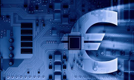 Circuit board blue background. Background image with system motherboard concept and euro sign Stock Photo