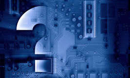 Circuit board blue background. Background image with system motherboard concept and question mark Royalty Free Stock Image