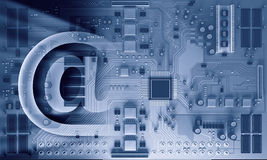 Circuit board blue background . Mixed media Royalty Free Stock Image