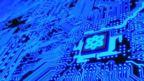 Circuit board in blue with a chip and a molecule symbol quantum. Computing 3D illustration royalty free illustration