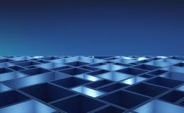Circuit board. Blue cubes in high-tech technology background. 3d. Pattern abstract illustration Royalty Free Stock Photos