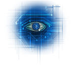 Circuit board- blue eye technology background Stock Photos