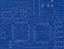 Circuit Board on a Blueprint Background Royalty Free Stock Photos