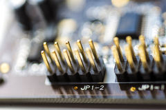 Circuit board blur. A close up of a circuit board with components attached Stock Images