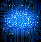 Circuit  board brain background Stock Images