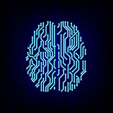 Circuit board brain concept. Vector illustration. Royalty Free Stock Images
