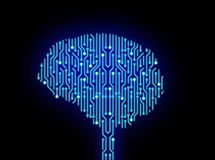 Circuit board in brain shape on black. High-tech technology. Background. 3d illustration Royalty Free Stock Photography