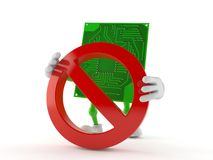 Circuit board character with forbidden symbol. Isolated on white background. 3d illustration Stock Photo