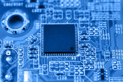 Circuit board with chip Royalty Free Stock Photography