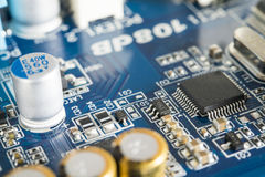 Circuit board with chip integrated. Blue circuit board with chip integrated Royalty Free Stock Image