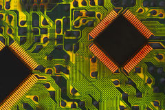 Circuit Board and Chips Stock Photo