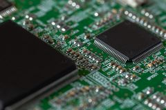 Circuit board with chips royalty free stock photos