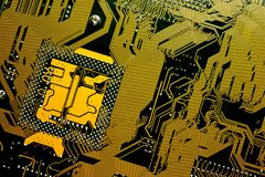 Circuit board. Electronic computer hardware technology. Motherboard digital chip. Tech science background. Integrated communication processor. Information Stock Photo