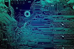 Circuit board. Electronic computer hardware technology. Motherboard digital chip. Tech science background. Integrated communication processor. Information Royalty Free Stock Photos