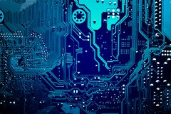 Circuit board. Electronic computer hardware technology. Motherboard digital chip. Tech science background. Integrated communication processor. Information Stock Photos