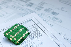 Circuit board and circuit diagram Stock Photos