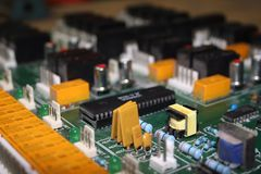 Circuit board. Close up electronic components on a circuit board Royalty Free Stock Image