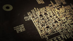 Circuit board close up with transistors Stock Photos