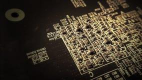 Circuit board close up with transistors Stock Photos