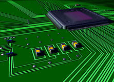 Circuit board closeup. Impressionistic illustration of a purple colored  integrated circuit connecting to input and output tracks and via a switch to smaller Royalty Free Stock Images