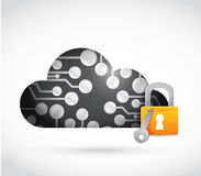 Circuit board cloud lock illustration design Royalty Free Stock Images