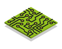 Circuit board computer chip isometric isolated Stock Image