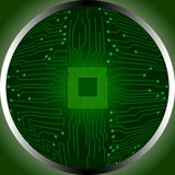 Circuit board cpu in circumference Royalty Free Stock Photos