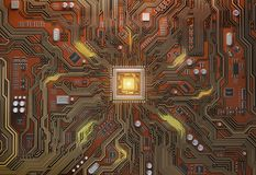 Circuit board with CPU.  Motherboard system chip with glowing pr Stock Photos