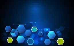 Circuit board and 3d paper hexagons background. Vector illustration circuit board and 3d paper hexagons background. Hi-tech digital technology and engineering Stock Photography