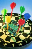 Circuit Board on Dart Board Royalty Free Stock Photography