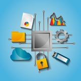 Circuit board data process protection backup document file. Vector illustration Stock Photo