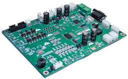 Circuit board. The deep green circuit board is provided with a lot of electronic components Royalty Free Stock Photo