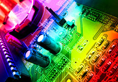 Circuit board detail. Computer internal hardware circuit board Royalty Free Stock Images