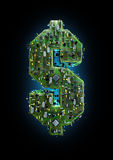 Circuit board dollar. 3D illustration of computer circuit board forming dollar symbol Royalty Free Stock Photos